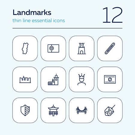 Landmarks line icon set. Portugal, fortress, castle, bridge. Travel concept. Can be used for topics like tourism, vacation, architecture, adventure