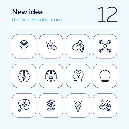 New idea line icon set. Bulb, brain, lightbulb. Innovation concept. Can be used for topics like startup, development, creative thinking  イラスト・ベクター素材