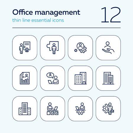 Office-Management-Icon-Set. Linie Ikonensammlung auf weißem Hintergrund. Ingenieur, Unternehmer, Gebäude. Entwicklungskonzept. Kann für Themen wie Wirtschaft, Beschäftigung, Arbeitsplatz verwendet werden