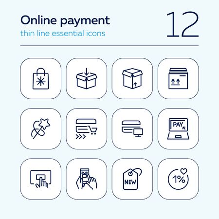 Online payment line icon set. Set of line icons on white background. Shopping, carton box, payment. Vector illustration can be used for topics like internet, shopping  イラスト・ベクター素材