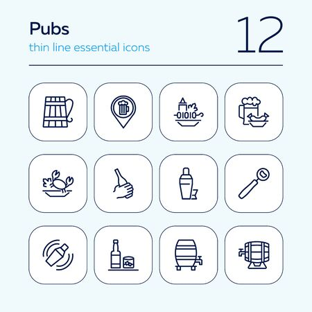 Pubs line icon set. Set of line icons on white background. Cocktail, beer mug, fresh crab. Food concept. Vector illustration can be used for topics like eating, drinking, resting 矢量图像