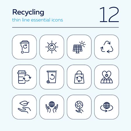 Recycling line icon set. Beer, opener, barrel. Ecology concept. Can be used for topics like environment protection, sustainable policy, zero waste Ilustração