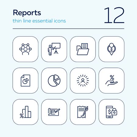 Reports line icon set. Presentation, diagram, bar chart. Analysis concept. Can be used for topics like analytics, marketing, business Illusztráció