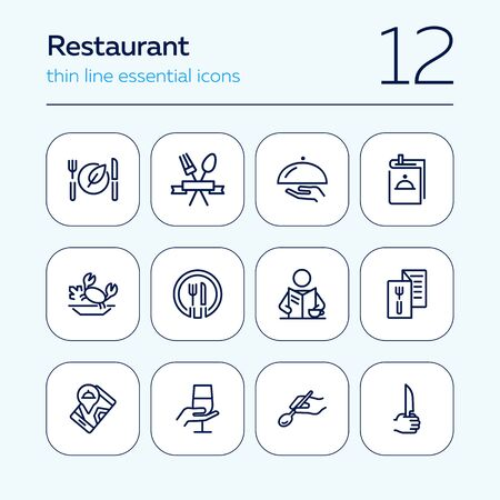 Restaurant line icon set. Menu, dish, spoon, fork. Catering concept. Can be used for topics like food, dinner, meal