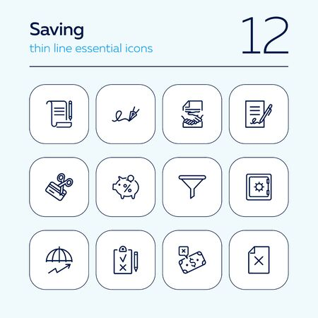 Saving line icon set. Deposit, agreement, handshake. Money concept. Can be used for topics like finance, banking, investment