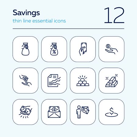 Savings line icon set. Deposit, cash, gold bars. Finance concept. Can be used for topics like banking, investment, money Illusztráció