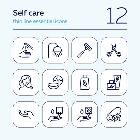 Self care line icon set. Shower, scissors, cream. Beauty care concept. Can be used for topics like hygiene, spa salon, daily routine Stock Illustratie