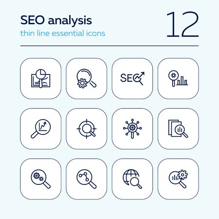 SEO analysis line icon set. Magnifier glass, graph, gear. Marketing concept. Can be used for topics like data analytics, research, business