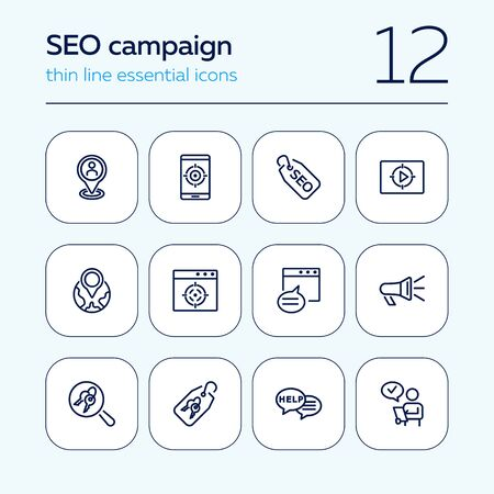 SEO campaign line icon set. Message, searching, technology. Market research concept. Can be used for topics like optimization, marketing, targeting Çizim