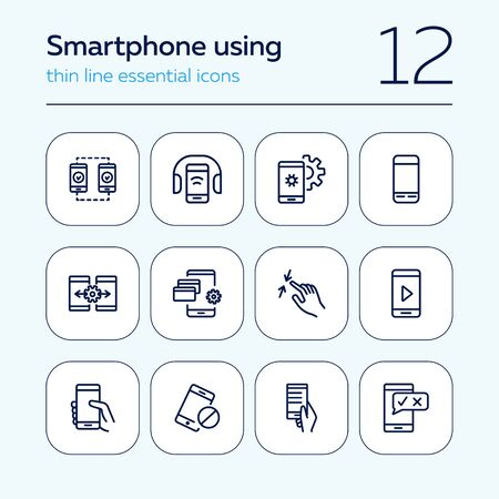 Smartphone using line icon set. Headphone, credit card, pinch. Electronic devices concept. Can be used for topics like manual, gadget features, online payment Illustration