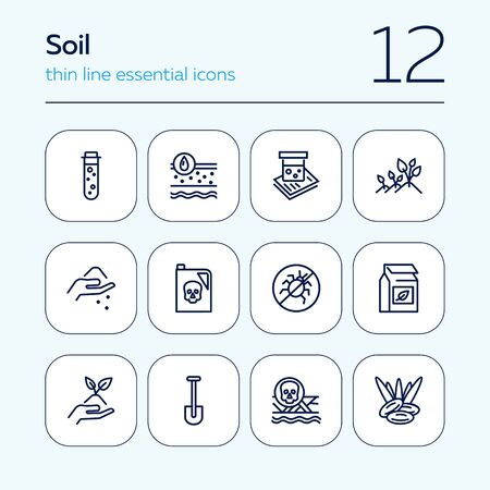 Soil icon set. Line icons collection on white background. Gardening, fertilizer, pesticide. Agriculture concept. Can be used for topics like farming, agronomy, cultivation