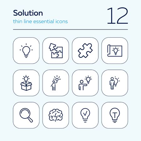 Solution line icon set. Bulb, puzzle, brain. Idea concept. Can be used for topics like business, startup, project, innovation Ilustração