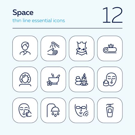 Spa salon line icon set. Massage, shower, candle. Relaxation concept. Can be used for topics like beauty, recovery, resort, skin care Illusztráció