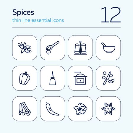 Spices icon set. Line icons collection on white background. Ingredient, flavor, taste. Seasoning concept. Can be used for topics like food, cooking, grocery Иллюстрация
