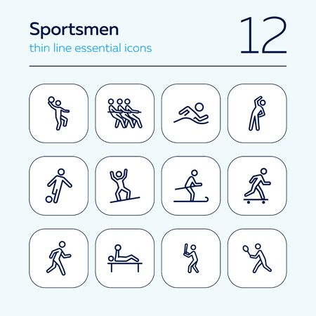 Sportsmen line icon set. Athlete, game, competition. Sport concept. Can be used for topics like fitness, active lifestyle, activities  イラスト・ベクター素材