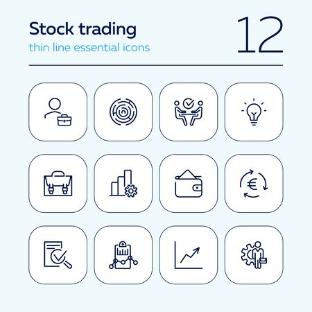 Stock trading line icon set. Investor, broker, businessman. Business concept. Can be used for topics like finance management, investment, exchange market