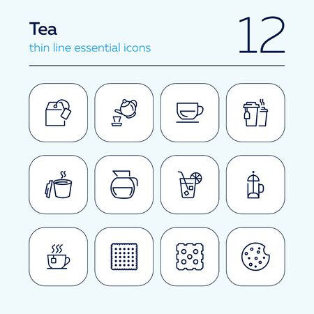 Tea line icon set. Teabag, cup, pot. Drink concept. Can be used for topics like hot drink, ice tea, cafe menu 向量圖像