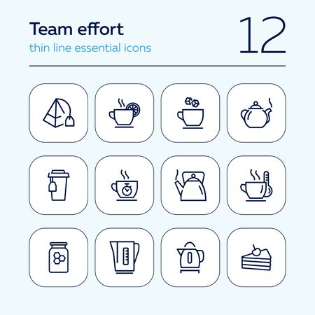 Tea time line icon set. Cup, sugar, pot, kettle, dessert. Tea concept. Can be used for topics like tea party, break, breakfast