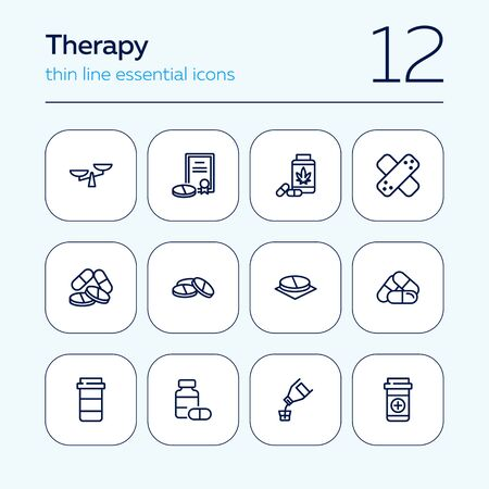 Therapy line icon set. Prescription, medical bottle, pills, syrup. Health care concept. Can be used for topics like cure, illness, treatment Ilustracja