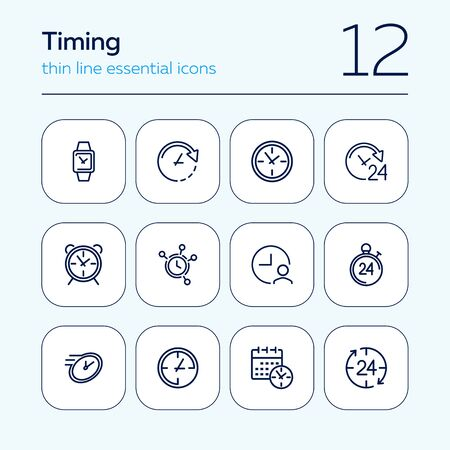 Timing line icon set. Clock, watch, calendar. Time concept. Can be used for topics like deadline, schedule, time management