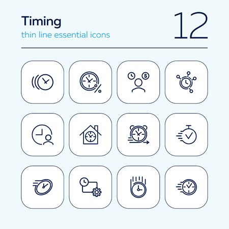 Timing line icon set. Clock, watch, percentage, stopwatch. Time concept. Can be used for topics like loan, mortgage, time is money