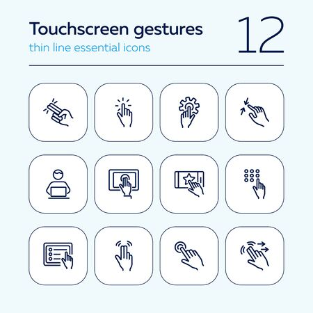 Touchscreen gestures line icon set. Press, tap, smartphone, tablet. Modern technology concept. Can be used for topics like phone features, gesturing, app design
