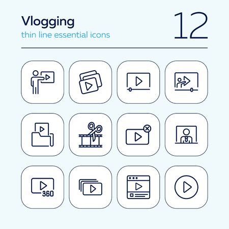Vlogging line icon set. Set of line icons on white background. Video production concept. Video folder, editing, playlist. Vector illustration can be used for topics like production, vlogging, cutting Illustration