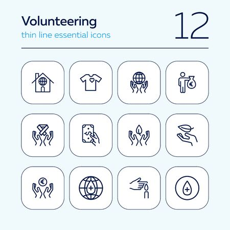 Volunteering line icon set. Money, planet care, blood donor. Charity concept. Can be used for topics like donation fund, support, solidarity