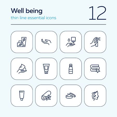 Well being line icon set. Face lifting, facial cream, folded towel. Beautician concept. Can be used for topics like beauty products, spa salon, body care Stock Illustratie