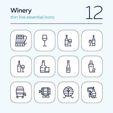 Winery icons. Set of line icons on white background. Wine bottle, barrel, beer. Alcohol concept. Vector illustration can be used for topics like bar, drinks, winemaking