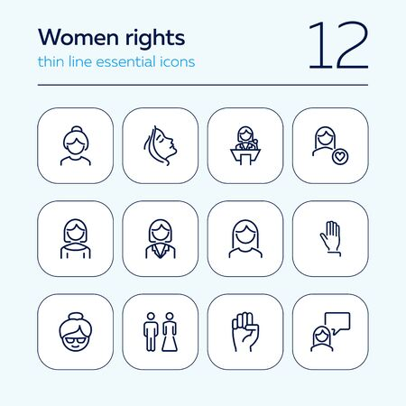 Women rights line icon set. Girl, woman, pair. Sociality concept. Vector illustration can be used for topics like human rights, social, girl power Ilustração
