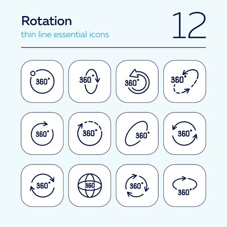 Rotation line icon set. Set of line icons on white background. Geometry and design concept. Rotation, arrow, three hundred and sixty degree. Vector illustration can be used for topics like geometry, design, science