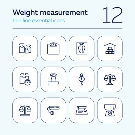Weight measurement tools line icon set. Electronic or manual scale, justice symbol, warehouse. Weight concept. Can be used for topics like logistics, cargo, shipment, market