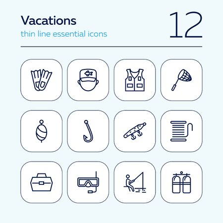 Vacations line icon set. Set of line icons on white background. Fishing, flippers, aqualung. Holiday concept. Vector illustration can be used for topics like travel, trip, tourism