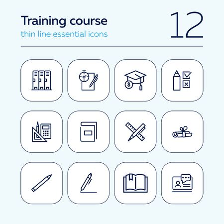 Training course line icon set. Cabin, test, graduation cap. Education concept. Can be used for topics like university, school supplies, college Ilustracja