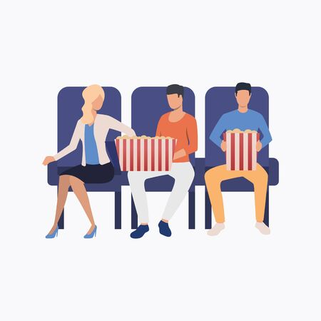 Friends sitting at cinema. Armchair, popcorn, movie. Happy friends concept. Vector illustration for website, landing page, online store Ilustrace