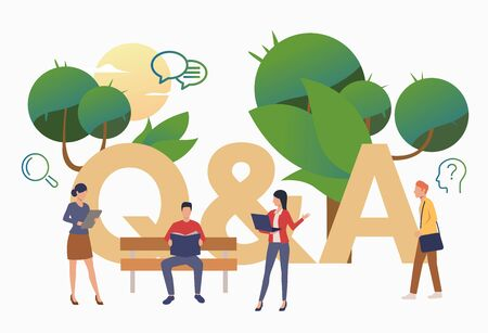 Group of people getting answers for troubling questions. FAQ, confusion, support. FAQ concept. Vector illustration for website, landing page, online store
