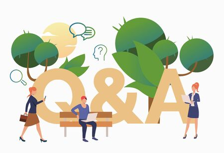 People getting answers for troubling questions. FAQ, confusion, support. FAQ concept. Vector illustration for website, landing page, online store
