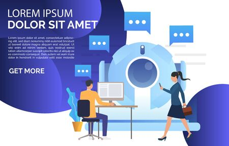 People talking to isometric AI robot landing page. Artificial intelligence, support, cyborg. Chatbot concept. Vector illustration for website, landing page, online store