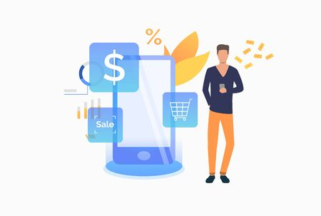 Man paying at online cash terminal. Purchase checkout, isometric, atm. Online cashier concept. Vector illustration for website, landing page, online store Ilustração