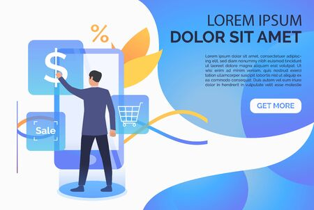 Man using online cash terminal webpage. Purchase checkout, isometric, atm. Online cashier concept. Vector illustration for website, landing page, online store