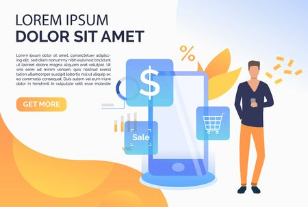 Man paying at online cash terminal webpage. Purchase checkout, isometric, atm. Online cashier concept. Vector illustration for website, landing page, online store