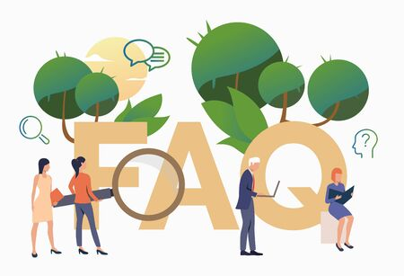 People asking frequent questions. FAQ, confusion, support. FAQ concept. Vector illustration for website, landing page, online store Illusztráció
