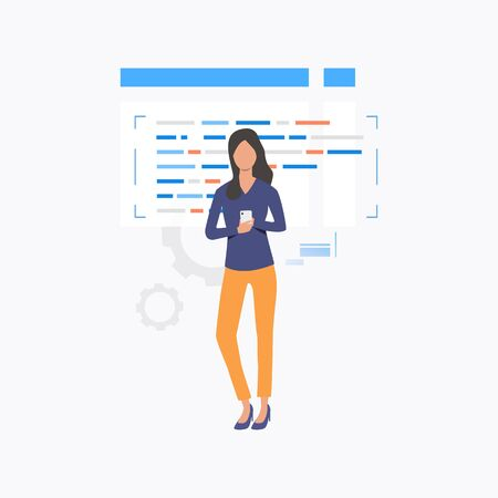 Woman holding smartphone. Screen, texting, website. User interface concept. Vector illustration for website, landing page, online store