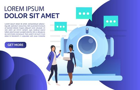 Women chatting with isometric AI robot landing page. Artificial intelligence, support, cyborg. Chatbot concept. Vector illustration for website, landing page, online store Çizim