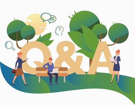 People getting answers for troubling questions landing page. FAQ, confusion, support. FAQ concept. Vector illustration for website, landing page, online store Stock fotó - 129955440