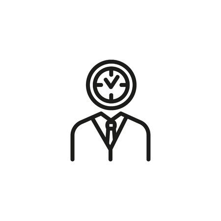 Time manager line icon. Clock, suit, management. Working time planning concept. Vector illustration can be used for topics like time management, business, workflow