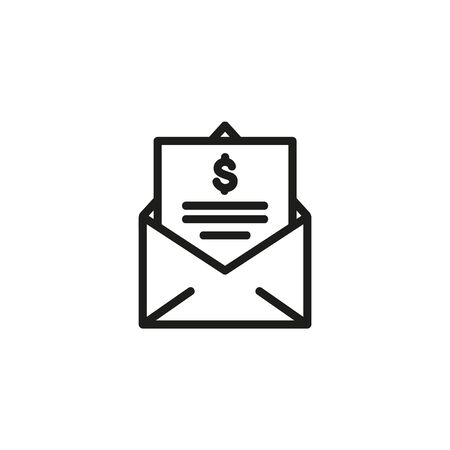 Estimating contract line icon. Envelope, contract, dollar sign. Working time planning concept. Vector illustration can be used for topics like time management, business, workflow