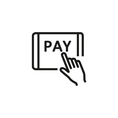 Online payment line icon. Tablet, hand, paying. Online payment concept. Vector illustration can be used for topics like finance, online shopping, payment