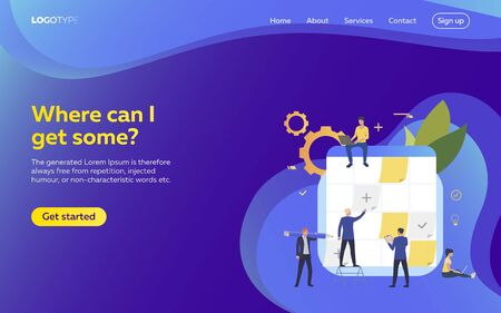 People planning work webpage. Schedule, aims, devices. Efficiency concept. Vector illustration can be used for topics like business, work, time management Illustration